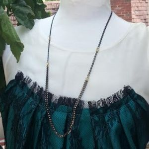 """Lucky Brand black and gold chain necklace 32"""""""